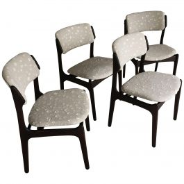 Erik Buch Set of Four Restored Tanned Oak Dining Chairs Inc, Re-Upholstery