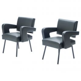 "Pair of Jacques Adnet ""President"" Leatherette Armchairs, 1959"