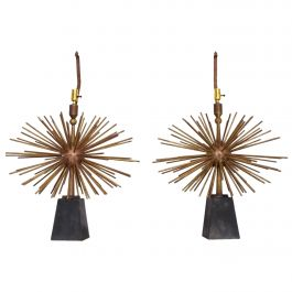 Mexican Modernist Bronze Starburst Table Lamps Attributed to Arturo Pani Sputnik