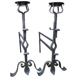 Pair of Large Wrought Iron Fire Dogs