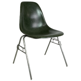 EAMES HERMAN MILLER DSS CHAIR IN DARK OLIVE ON ORIGINAL STACKING BASE