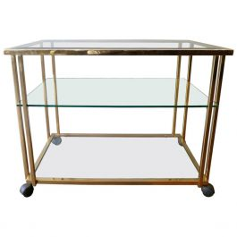 Gold-Plated Brass Bar Cart or Drinks Trolly