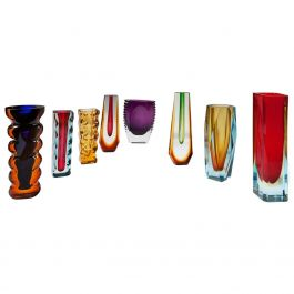 Collection of Czechoslovakian Glass Vases