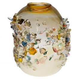 Sakura TRP19015, a Glass Vase in Yellow with Mixed Colors by Maarten Vrolijk