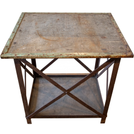 An industrial reclaimed metal centre table