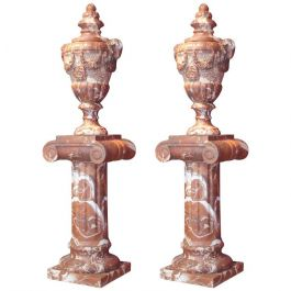 Pair of French 19th Century Red Marble Columns with Vases in Neoclassic Style