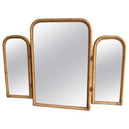 Mid-Century Modern Italian Triptych Bamboo Framed Lit Mirror, 1970s