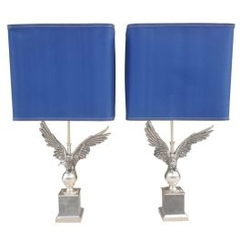 1980s Pair Of French Eagle Table Lamps
