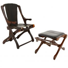 Mid Century Mexican Modernist Don Shoemaker Folding Chair with Matching Ottoman