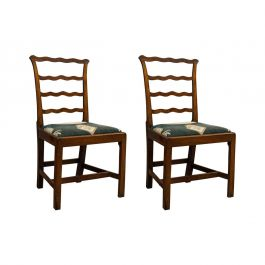 Pair of Antique Ladder Back Chairs, Irish, Mahogany, Side, Georgian, circa 1780