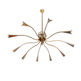 Grand 1950s Spider Chandelier in Brass by Oscar Torlasco