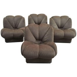 Four Armchairs Living Room Set From 1970s With Original Upholstery