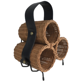 RATTAN, BLACK METAL & FAUX-LEATHER BOTTLE HOLDER