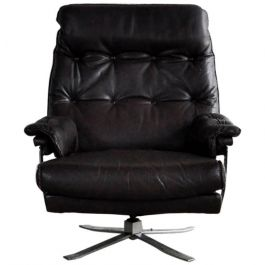 Dark Brown Leather and Chrome High Back Lounge Chair by Arne Norell