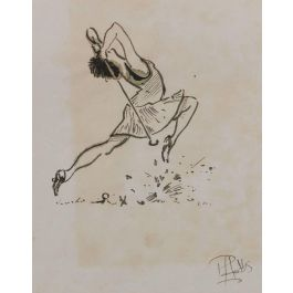 Peter HobbsCaricature of a Lady Golfer by Peter Hobbs original watercolour sketchc1950