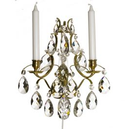 Wall Sconce: Baroque Polished Brass with almond crystals