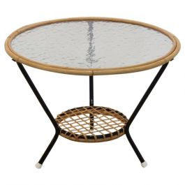 Original Wicker Glass Side Table for Rohé Noordwolde, Netherlands