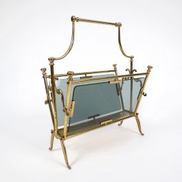 French Brass and Smoked Glass Magazine Rack from Maison Baguès, 1960s