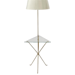 Italian brass standard lamp with table