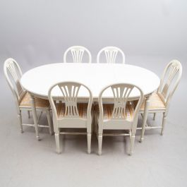 Gustavian Dining Table and 6 Chairs