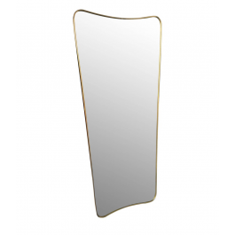 LARGE ITALIAN SHIELD MIRROR WITH BRASS SURROUND IN THE STYLE OF GIO PONTI