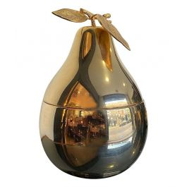 LARGE 24-CARAT GOLD-PLATED PEAR SHAPED ICE BUCKET WITH DETAILED LEAF HANDLE