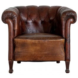 French Leather Buttoned Tub Chair
