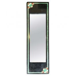 MAITLAND SMITH ART DECO STYLE TESSELLATED MARBLE MIRROR WITH BRASS INLAY