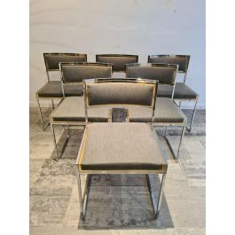 Mid-Century Brass & Chrome Dining Chairs, Set of 6