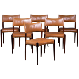 Mid-Century Danish Rosewood Dining Chairs by Ejnar Larsen & Aksel Bender for Willy Beck, Set of 6