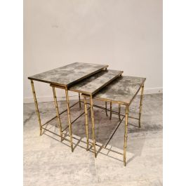 Mid-Century Faux Bamboo Nesting Tables from Maison Baguès, Set of 3