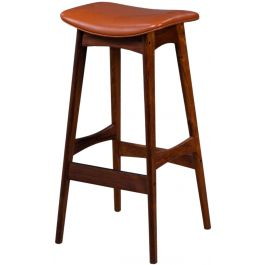 Mid-Century Rosewood & Leather Bar Stools by Erik Buch for Dyrlund, Set of 4