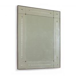 Large Italian Etched & Segmented Mirror, 1940s