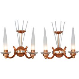 Pair of French Art Deco Wall Lights Attributed to Petitot