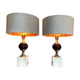 Pair Of 1970S Travertine And Chrome Lamps In The Style Of Maison Barbier