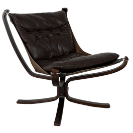 Vintage Dark Brown Leather Low Back Falcon Chair Designed By Sigurd Resell