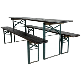Vintage German beer table and benches in black