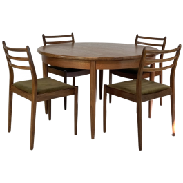 Midcentury G Plan extending dining table and chairs