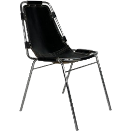 1970S BLACK LEATHER CHARLOTTE PERRIAND LES ARCS CHAIR
