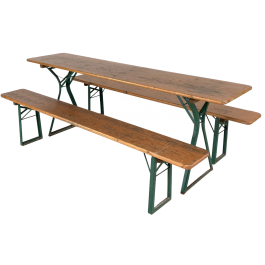 Vintage German beer table and benches in original painted finish with A frame