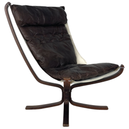 Vintage Dark Brown Leather High Backed Falcon Chair Designed By Sigurd Resell