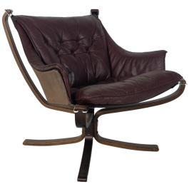 Vintage Winged Leather Low Back Falcon Chair Designed By Sigurd Resell