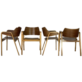 SET OF 4 BRITISH 1950S BENT PLY DINING CHAIRS BY ERIC LYONS FOR PACKET FURNITURE