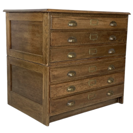 1930S Plan Chest With Brass Cup Handles