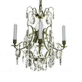 Baroque Crystal Chandelier: Polished Brass 5 arm with clear almond crystals