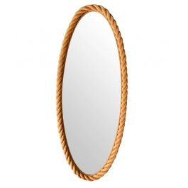 A Large 1950S French Riviera Oval Rope Mirror By Audoux And Minet