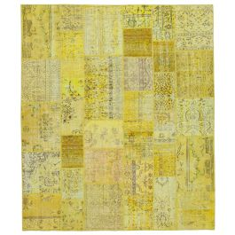 Hand-knotted Oriental Yellow Decorative Large Patchwork Carpet