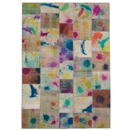 Hand-knotted Turkish Multi Colorful Large Patchwork Carpet