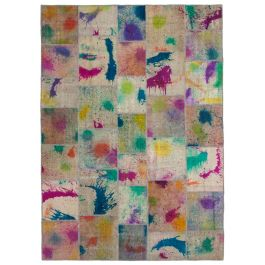 Handwoven Oriental Multi Overdyed Large Patchwork Rug