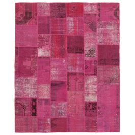 Hand-knotted Turkish Pink Unique Large Patchwork Rug